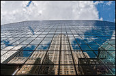 USA, New York City, Chrysler Building reflected with clouds