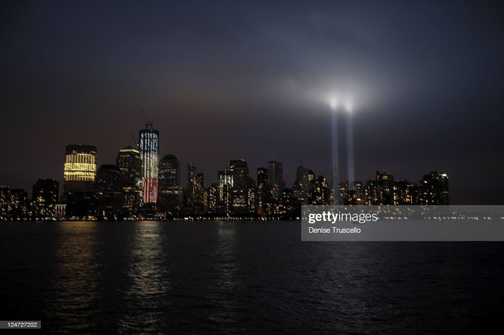 New York City commemorates the 10th Anniversary of the 9-11 Terror Attacks with the Tribute in Light on September 11, 2011 in New York City.