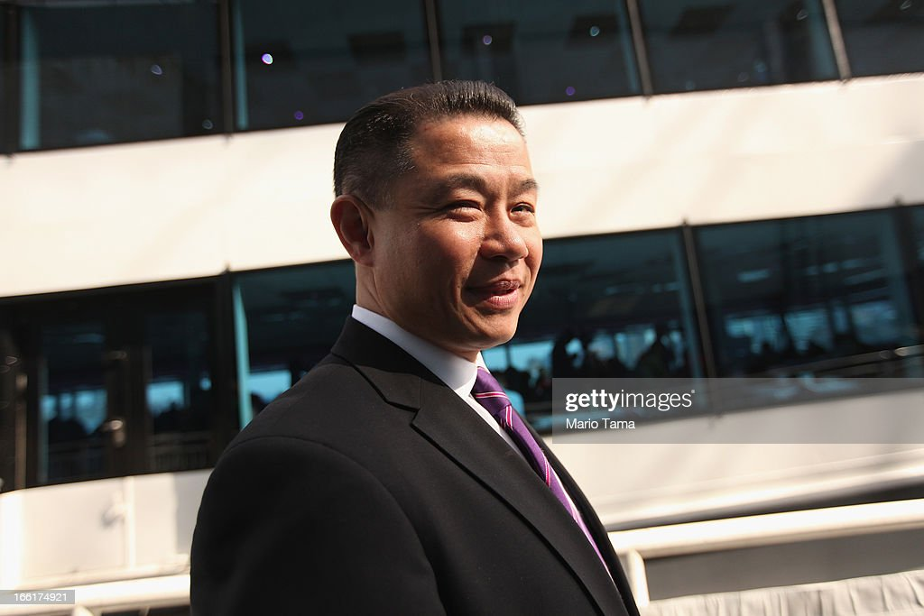 New York City Comptroller and mayoral candidate John Liu departs a political forum on a boat in Manhattan on April 9, 2013 in New York City. Six mayoral candidates spoke at the Metropolitan Waterfront Alliance's 2013 Waterfront Conference ahead of the November 2013 mayoral election.