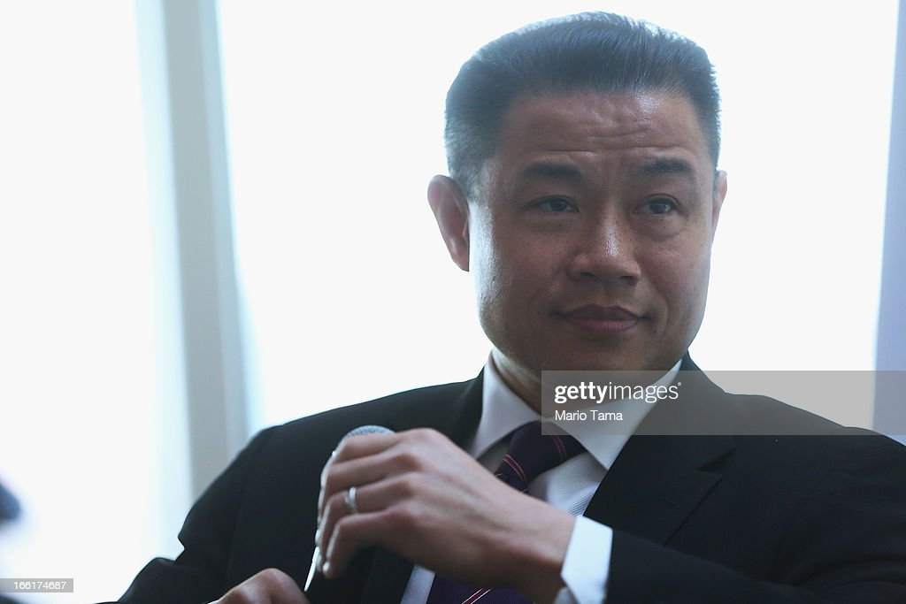 New York City Comptroller and mayoral candidate John Liu speaks at a political forum on a boat in Manhattan on April 9, 2013 in New York City. Six mayoral candidates spoke at the Metropolitan Waterfront Alliance's 2013 Waterfront Conference ahead of the November 2013 mayoral election.