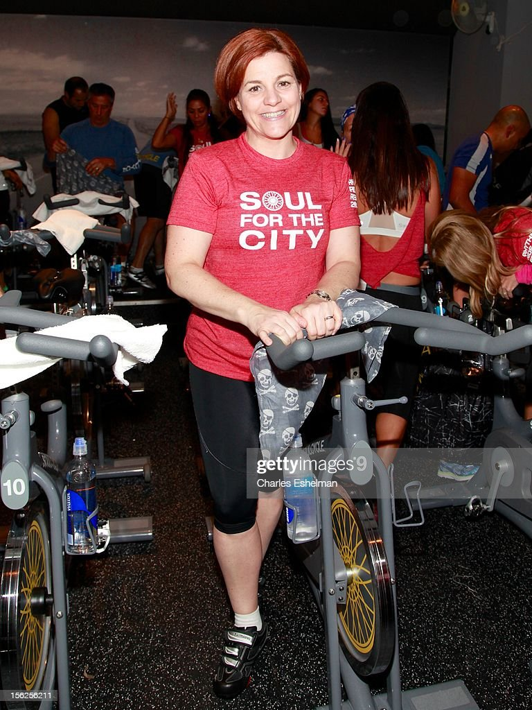 New York City Council <a gi-track='captionPersonalityLinkClicked' href=/galleries/search?phrase=Christine+Quinn&family=editorial&specificpeople=550180 ng-click='$event.stopPropagation()'>Christine Quinn</a> spins in SoulCycle's Soul Relief Rides at SoulCycle Tribeca on November 11, 2012 in New York City.