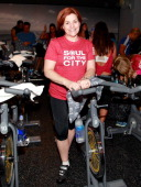 New York City Council Christine Quinn spins in SoulCycle's Soul Relief Rides at SoulCycle Tribeca on November 11 2012 in New York City