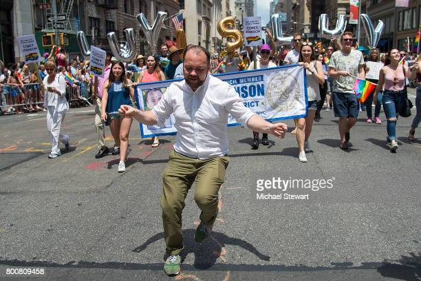 New York City Council Member Corey Johnson attends the 2017 New York City Pride March on June 25 2017 in New York City