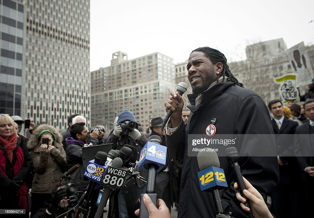 New York City Council member Jumaane Williams speaks at a demonstration against the city's 'stop and frisk' searches in lower Manhattan near Federal Court March 18, 2013 in New York City. Hearings in a federal lawsuit filed by four black men against the city police department's 'stop and frisk' searches starts today in Manhattan Federal Court.