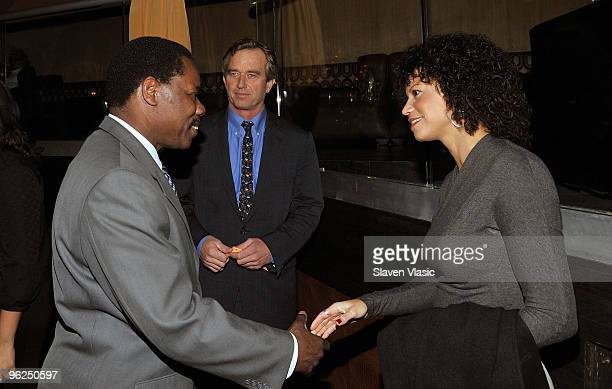 New York City Council Member Mathieu Eugene Robert F Kenedy Jr and actress Gloria Reuben attend the Answering The Call For Haiti Earthquake Victims...