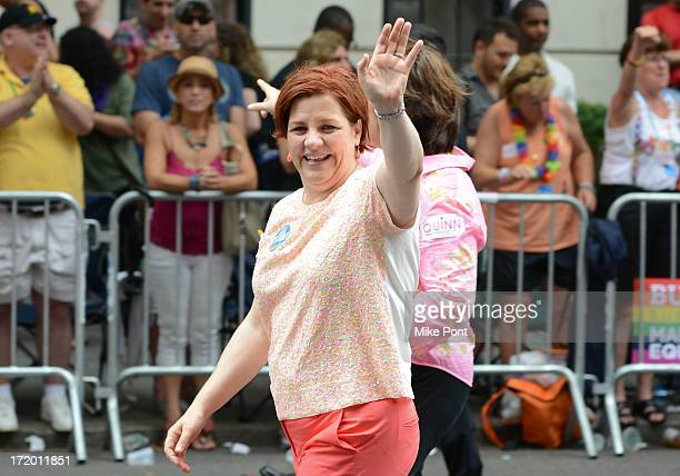 New York City Council Speaker and Mayoral Candidate Christine Quinn attends The March during NYC Pride 2013 on June 30 2013 in New York City