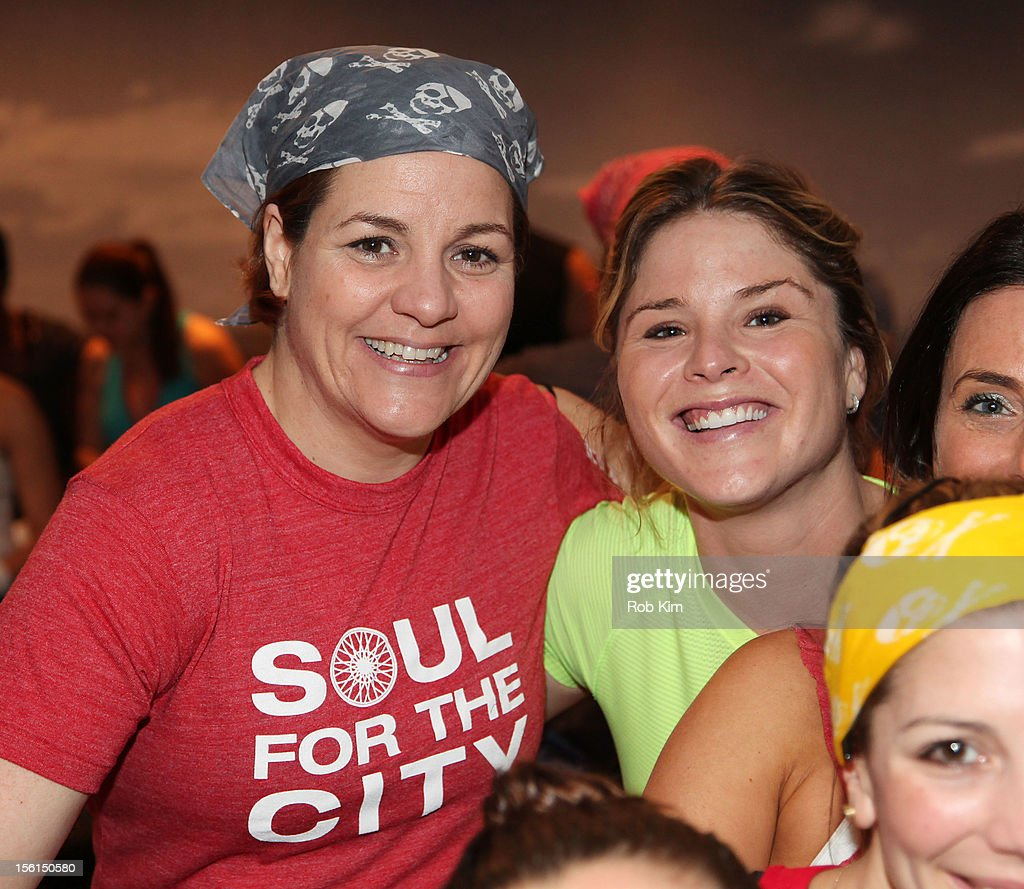 New York City Council Speaker Christine Quinn (L) and Jenna Bush attend SoulCycle's Soul Relief Rides at SoulCycle Tribeca on November 11, 2012 in New York City.