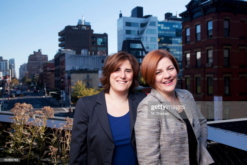 New York City Council Speaker <a gi-track='captionPersonalityLinkClicked' href=/galleries/search?phrase=Christine+Quinn&family=editorial&specificpeople=550180 ng-click='$event.stopPropagation()'>Christine Quinn</a> and wife media-averse lawyer, Kim Catullo are photographed for Out Magazine on October 1, 2012 on the Highline in New York City.