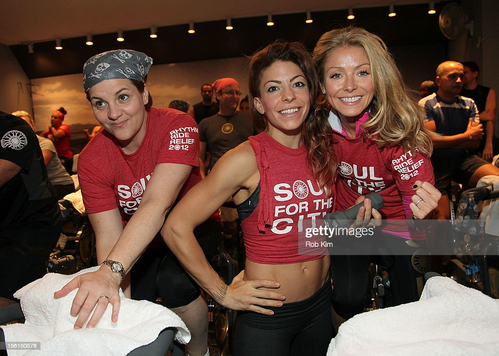 New York City Council Speaker Christine Quinn, instructor Kym Perfetto and Kelly Ripa attend SoulCycle's Soul Relief Rides at SoulCycle Tribeca on November 11, 2012 in New York City.