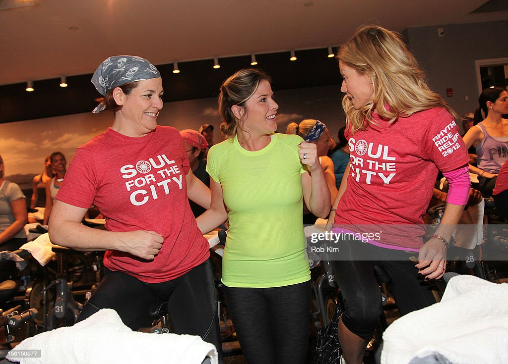 New York City Council Speaker Christine Quinn, Jenna Bush and Kelly Ripa attend SoulCycle's Soul Relief Rides at SoulCycle Tribeca on November 11, 2012 in New York City.
