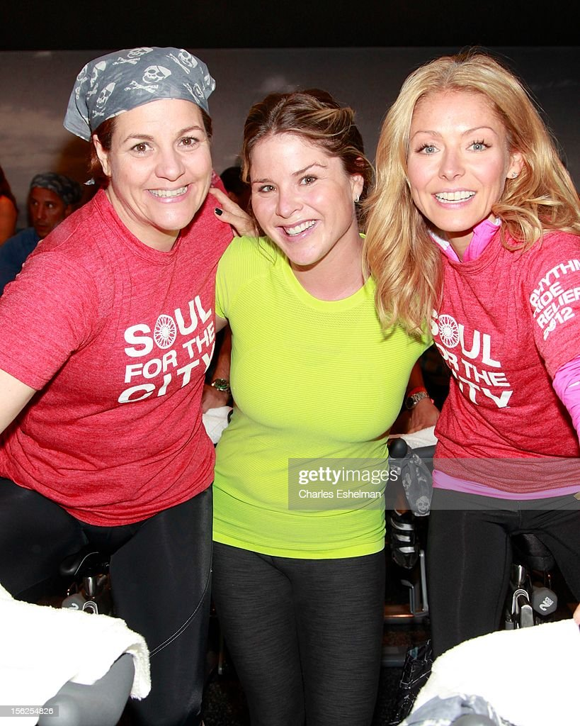 New York City Council Speaker Christine Quinn, Jenna Bush and TV personality Kelly Ripa spin in SoulCycle's Soul Relief Rides at SoulCycle Tribeca on November 11, 2012 in New York City.
