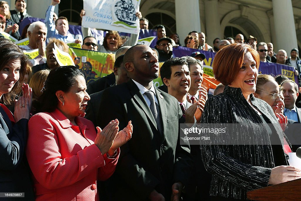 New York City Council Speaker Christine Quinn (R) speaks at a rally in front of City Hall to show support for a paid sick leave bill, a day after she announced that lawmakers and advocates reached a deal on the legislation March 29, 2013 in New York City. The bill would force businesses with 20 or more employees to provide five paid sick days a year beginning in April 2014. New York Mayor Michael Bloomberg, who opposes the bill, said he would veto it if it comes to his desk.
