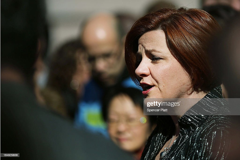 New York City Council Speaker <a gi-track='captionPersonalityLinkClicked' href=/galleries/search?phrase=Christine+Quinn&family=editorial&specificpeople=550180 ng-click='$event.stopPropagation()'>Christine Quinn</a> speaks at a rally in front of City Hall to show support for a paid sick leave bill, a day after she announced that lawmakers and advocates reached a deal on the legislation March 29, 2013 in New York City. The bill would force businesses with 20 or more employees to provide five paid sick days a year beginning in April 2014. New York Mayor Michael Bloomberg, who opposes the bill, said he would veto it if it comes to his desk.