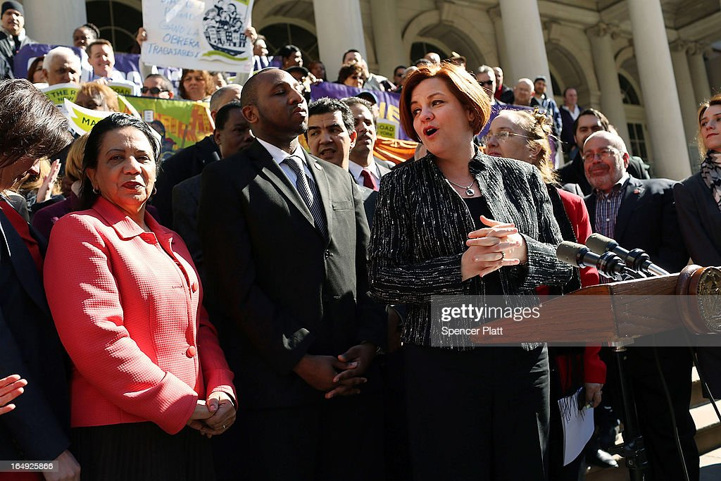 New York City Council Speaker <a gi-track='captionPersonalityLinkClicked' href=/galleries/search?phrase=Christine+Quinn&family=editorial&specificpeople=550180 ng-click='$event.stopPropagation()'>Christine Quinn</a> (4th R) speaks at a rally in front of City Hall to show support for a paid sick leave bill, a day after she announced that lawmakers and advocates reached a deal on the legislation March 29, 2013 in New York City. The bill would force businesses with 20 or more employees to provide five paid sick days a year beginning in April 2014. New York Mayor Michael Bloomberg, who opposes the bill, said he would veto it if it comes to his desk.