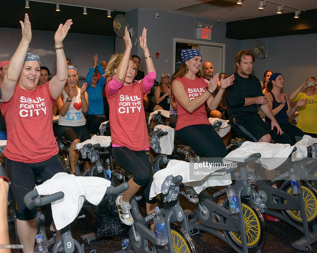 New York City Council Speaker Christine Quinn, tv personality Kelly Ripa, actress Brooke Shields and producer Chris Henchy attend SoulCycle's Soul Relief Rides at SoulCycle Tribeca on November 11, 2012 in New York City.