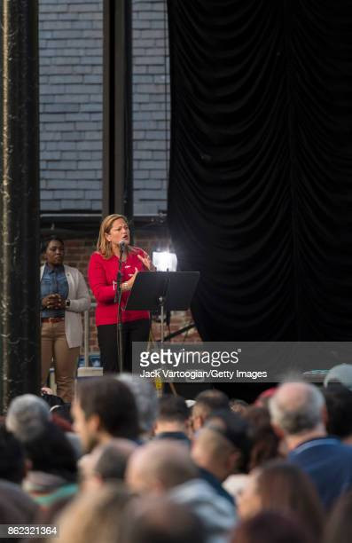 New York City Council Speaker Melissa MarkViverito addresses the crowd during a benefit for SummerStage at Central Park SummerStage New York New York...