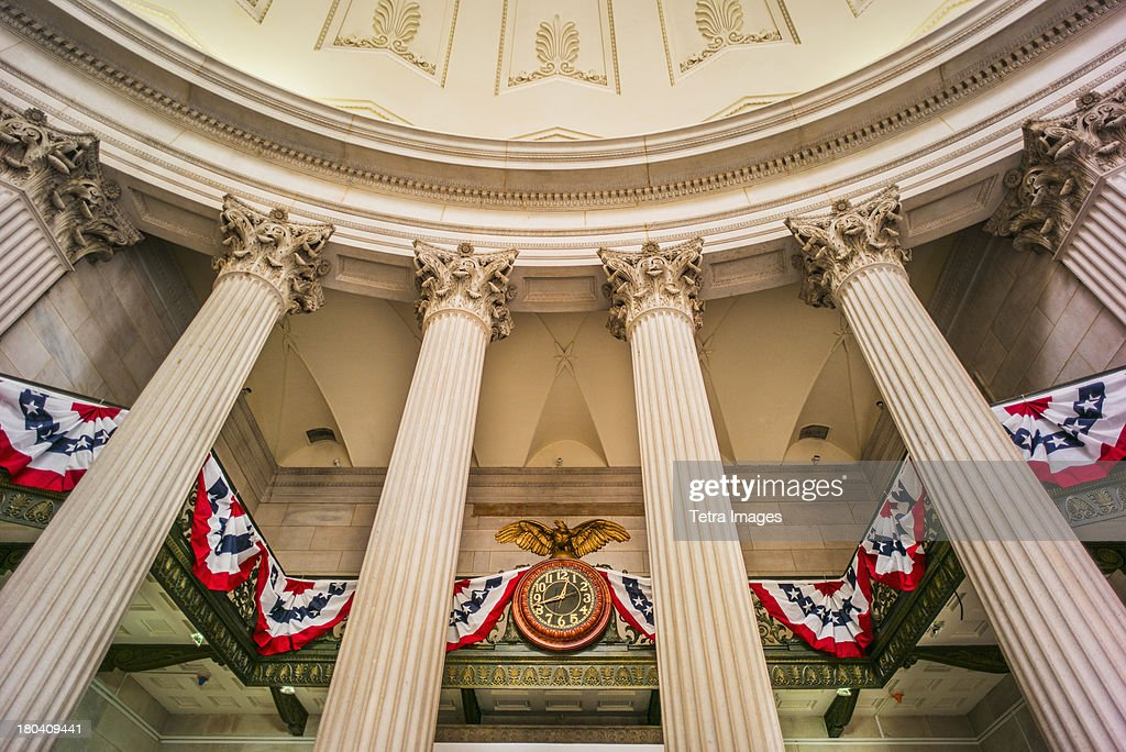 USA, New York City, Decoration for first presidential inauguration at Federal Hall