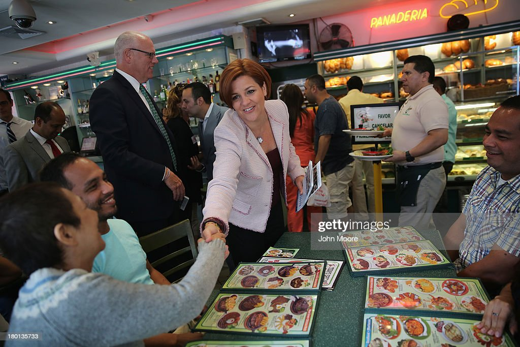 New York City Democratic mayoral candidate <a gi-track='captionPersonalityLinkClicked' href=/galleries/search?phrase=Christine+Quinn&family=editorial&specificpeople=550180 ng-click='$event.stopPropagation()'>Christine Quinn</a> asks for support while on a campaign stop at the Cositas Ricas Mexican restaurant on September 9, 2013 in the Queens borough of New York City. Quinn, a Democrat, and other candidates made a final voter push ahead of Tuesday's primary election in New York City's vote for mayor.