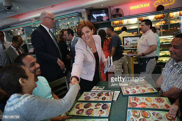 New York City Democratic mayoral candidate Christine Quinn asks for support while on a campaign stop at the Cositas Ricas Mexican restaurant on...
