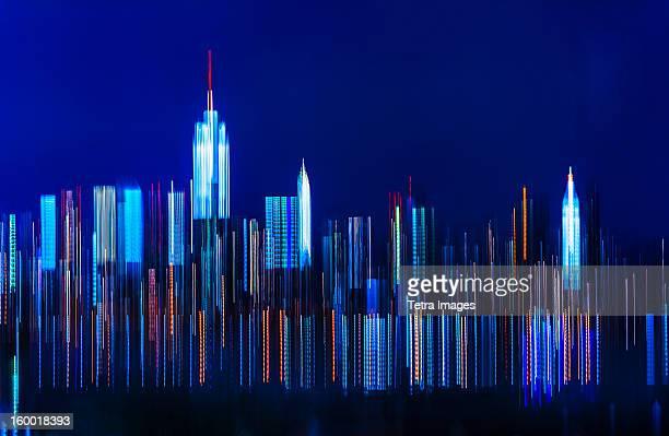 USA, New York City, Digitally blurred skyline of Manhattan
