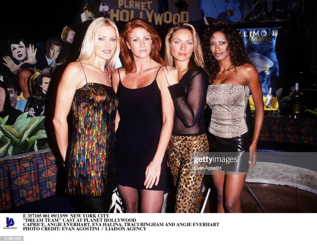 New York City 'Dream Team' Cast At Planet Hollywood Caprice Angie Everhart Eva Halina Traci Bingham And Angie Everhart