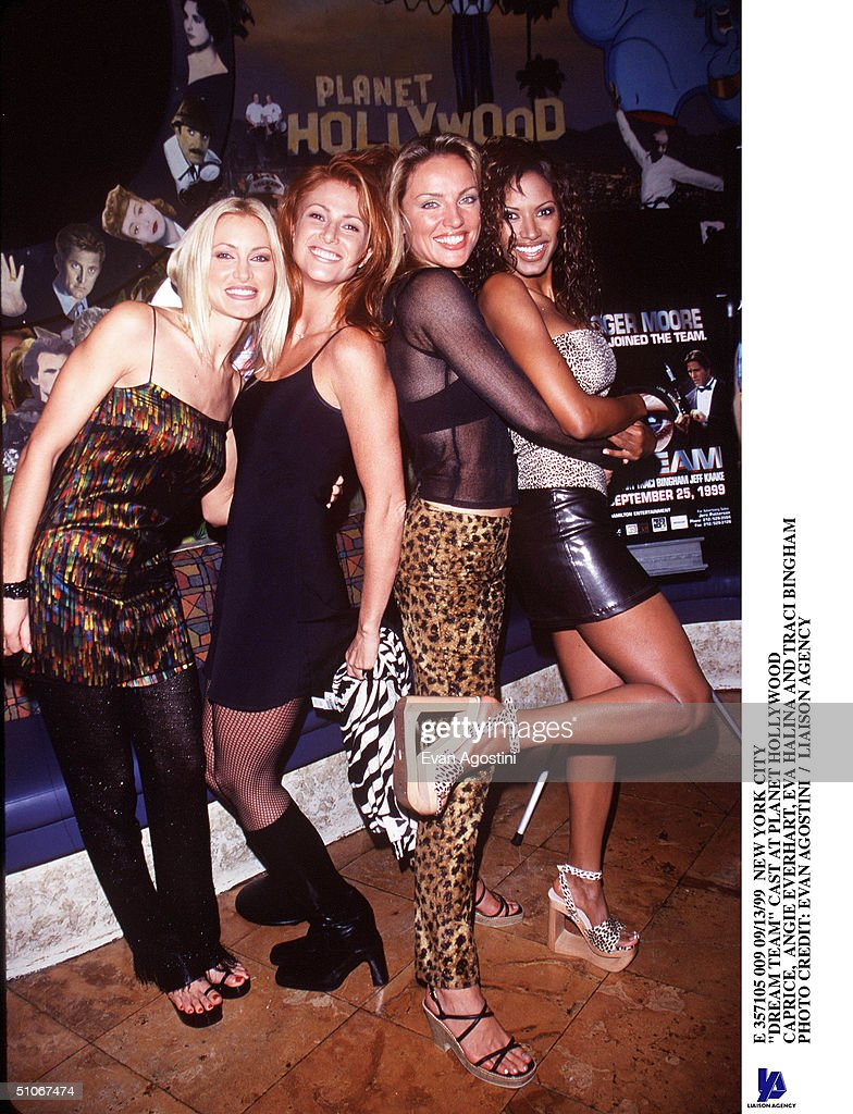 New York City 'Dream Team' Cast At Planet Hollywood Caprice Angie Everhart Eva Halina And Traci Bingham