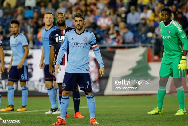 New York City FC forward David Villa gets set to defend a corner kick during a match between the New England Revolution and New York City FC on...