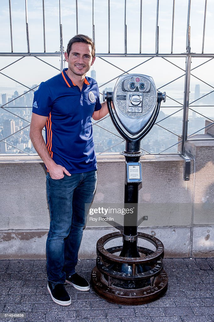 New York City FC Midfielder Frank Lampard visits The Empire State Building on March 9, 2016 in New York City.