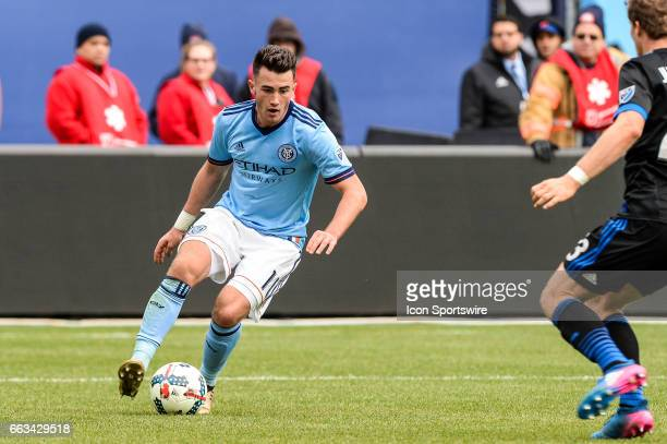 New York City FC midfielder Jack Harrison brings the ball up the field against San Jose Earthquakes midfielder Florian Jungwirth on April 01 at...