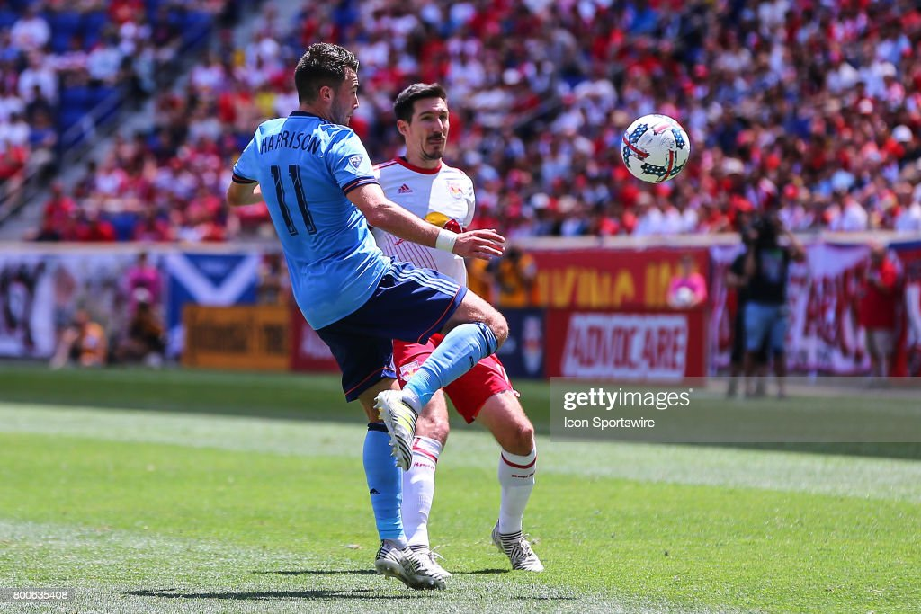 New York City FC midfielder Jack Harrison (11) during the first half of the Major League Soccer game between the New York Red Bulls and New York City FC on June 24, 2017, at Red Bull Arena in Harrison, NJ.