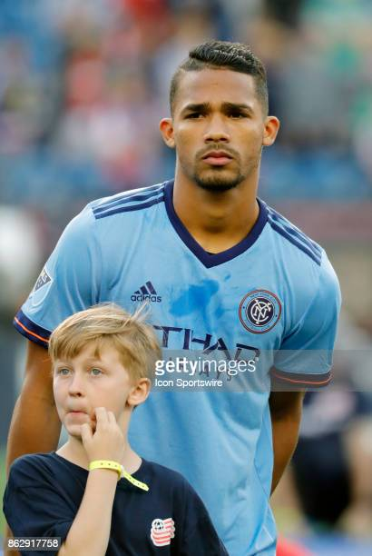 New York City FC midfielder Yangel Herrera during a match between the New England Revolution and New York City FC on October 15 at Gillette Stadium...