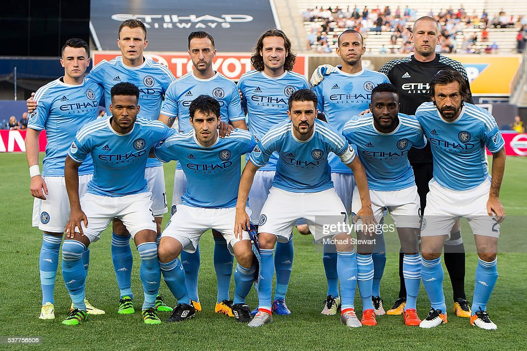 New York City FC players (Front L-R) Ethan White #3, <a gi-track='captionPersonalityLinkClicked' href=/galleries/search?phrase=Andoni+Iraola&family=editorial&specificpeople=625710 ng-click='$event.stopPropagation()'>Andoni Iraola</a> #51, <a gi-track='captionPersonalityLinkClicked' href=/galleries/search?phrase=David+Villa&family=editorial&specificpeople=467566 ng-click='$event.stopPropagation()'>David Villa</a> #7, Steven Mendoza #9, <a gi-track='captionPersonalityLinkClicked' href=/galleries/search?phrase=Andrea+Pirlo&family=editorial&specificpeople=198835 ng-click='$event.stopPropagation()'>Andrea Pirlo</a> #21, (Back L-R) Jack Harrison #11, Frederic Brillant #13, RJ Allen #27, Mix Diskerud #10, <a gi-track='captionPersonalityLinkClicked' href=/galleries/search?phrase=Jason+Hernandez+-+American+Soccer+Player&family=editorial&specificpeople=9684404 ng-click='$event.stopPropagation()'>Jason Hernandez</a> #2 and Josh Saunders #12 pose for a team photo before the match vs Real Salt Lake at Yankee Stadium on June 2, 2016 in the Bronx borough of New York City. Real Salt Lake defeats New York City FC