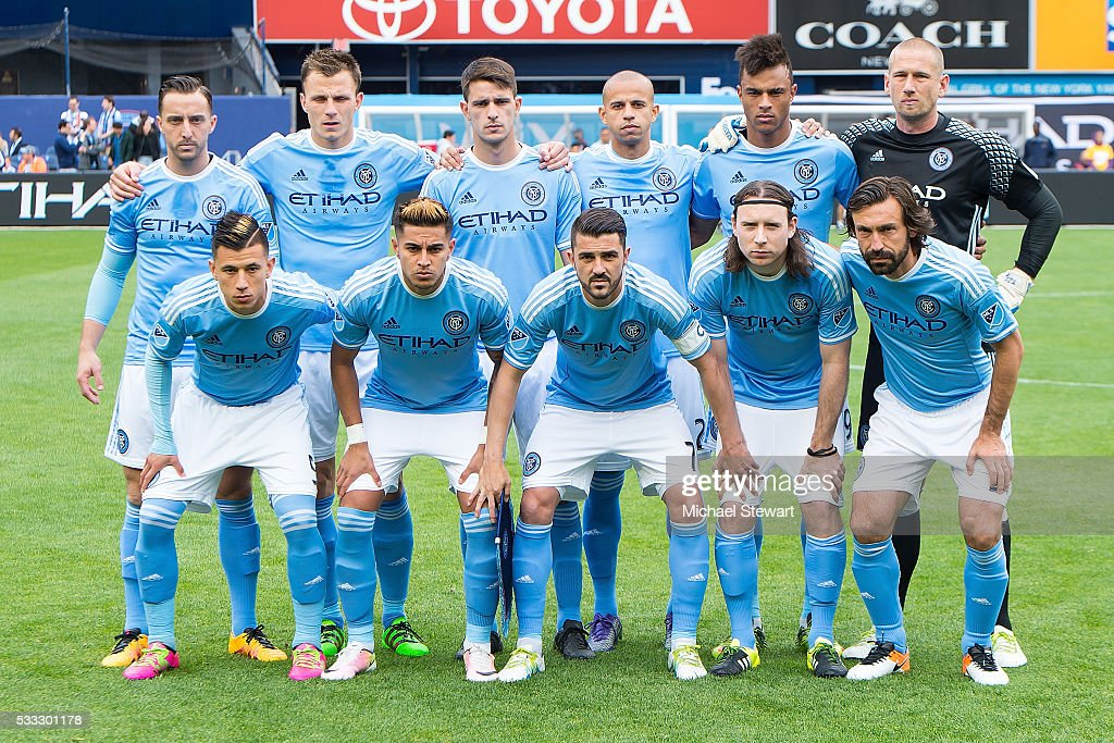 New York City FC players (Back L-R) RJ Allen #27, Frederic Brillant #13, Federico Bravo #6, <a gi-track='captionPersonalityLinkClicked' href=/galleries/search?phrase=Jason+Hernandez+-+American+Soccer+Player&family=editorial&specificpeople=9684404 ng-click='$event.stopPropagation()'>Jason Hernandez</a> #2, Khiry Shelton #19, Josh Saunders #12, (Front L-R) Mikey Lopez #5, Ronald Matarrita #22, <a gi-track='captionPersonalityLinkClicked' href=/galleries/search?phrase=David+Villa&family=editorial&specificpeople=467566 ng-click='$event.stopPropagation()'>David Villa</a> #7, Thomas McNamara #15 and <a gi-track='captionPersonalityLinkClicked' href=/galleries/search?phrase=Andrea+Pirlo&family=editorial&specificpeople=198835 ng-click='$event.stopPropagation()'>Andrea Pirlo</a> #21 pose for a team photo before the match vs New York Red Bulls at Yankee Stadium on May 21, 2016 in New York City. New York Red Bulls defeats New York City FC