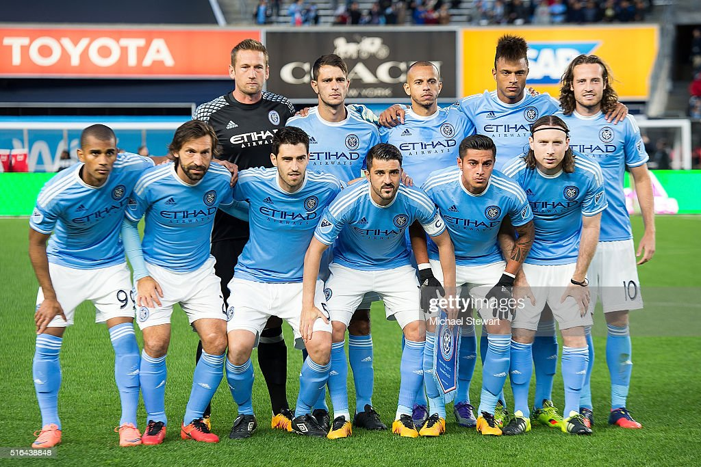 New York City FC players (Front Row) Tony Taylor #99, <a gi-track='captionPersonalityLinkClicked' href=/galleries/search?phrase=Andrea+Pirlo&family=editorial&specificpeople=198835 ng-click='$event.stopPropagation()'>Andrea Pirlo</a> #21, <a gi-track='captionPersonalityLinkClicked' href=/galleries/search?phrase=Andoni+Iraola&family=editorial&specificpeople=625710 ng-click='$event.stopPropagation()'>Andoni Iraola</a> #51, <a gi-track='captionPersonalityLinkClicked' href=/galleries/search?phrase=David+Villa&family=editorial&specificpeople=467566 ng-click='$event.stopPropagation()'>David Villa</a> #7, Ronald Matarrita #22, Thomas McNamara #15 (Back Row) Josh Saunders #12, Frederic Brillian #13, <a gi-track='captionPersonalityLinkClicked' href=/galleries/search?phrase=Jason+Hernandez+-+American+Soccer+Player&family=editorial&specificpeople=9684404 ng-click='$event.stopPropagation()'>Jason Hernandez</a> #2, Khiry Shelton #19 and Mix Diskerud #10 pose for a team photo before the Orlando City SC vs New York City FC match at Yankee Stadium on March 18, 2016 in the Bronx borough of New York City.
