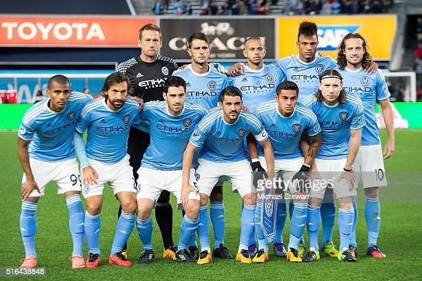 New York City FC players Tony Taylor Andrea Pirlo Andoni Iraola David Villa Ronald Matarrita Thomas McNamara Josh Saunders Frederic Brillian Jason...