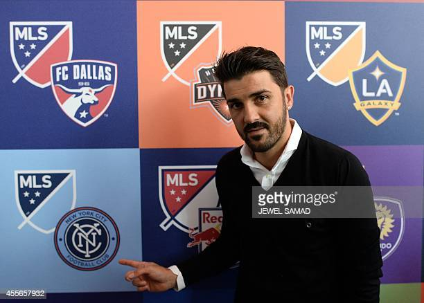 New York City Football Club player David Villa poses during an event to unveil Major League Soccer new logo in New York on September 18 2014 MLS...