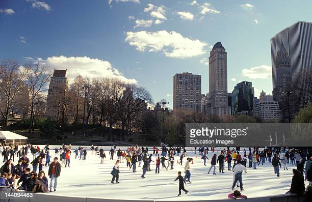 New York City Ice Skaters On Central Park Rink