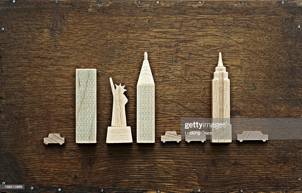 New York city landmarks carved out of wood : Stock Photo