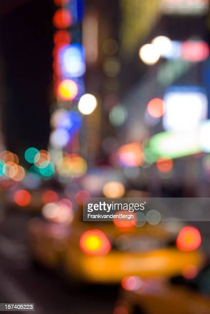 New York City Lights with Yellow Cab