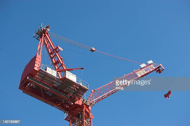 USA, New York City, Low angle view of industrial crane