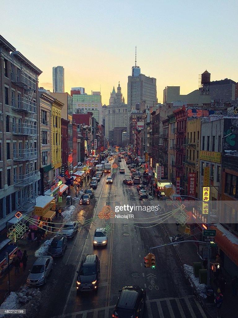 USA, New York City, Lower East Side, Chinatown, Street scene at dusk : Stock Photo