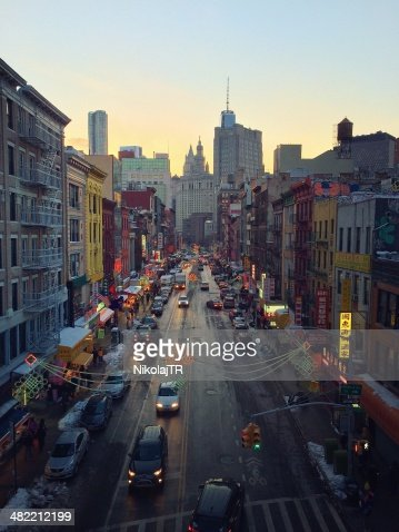 USA, New York City, Lower East Side, Chinatown, Street scene at dusk