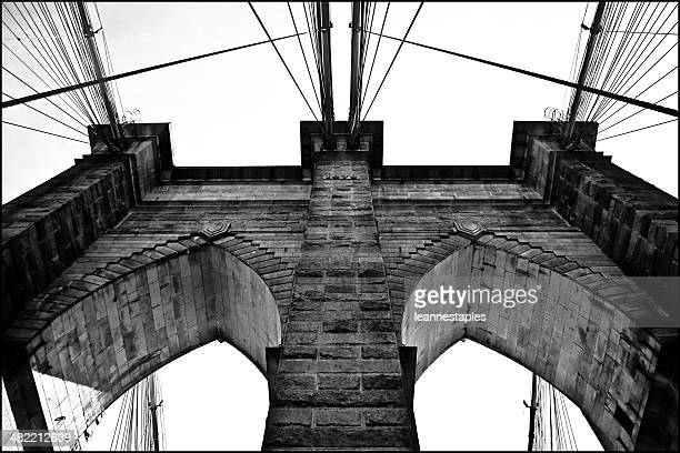USA, New York City, Lower East Side, Part of Brooklyn Bridge seen from below