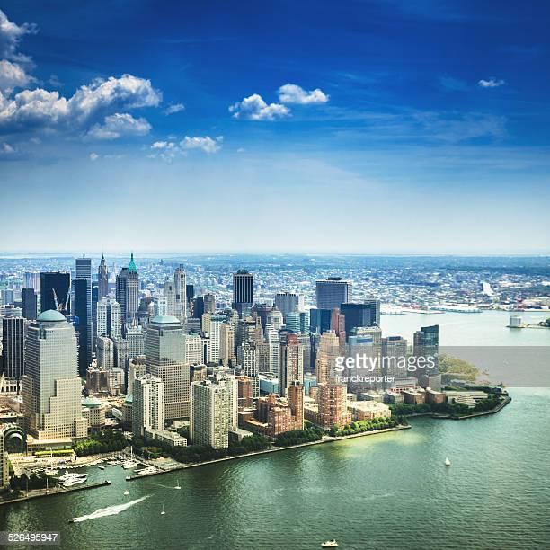 New York City lower manhattan aerial view skyline