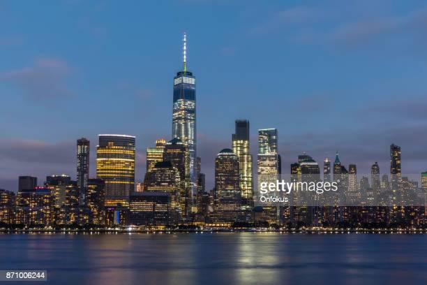 New York City Lower Manhattan and World Trade Center at Sunset