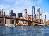 New York city Lower Manhattan skyline and Brooklyn bridge