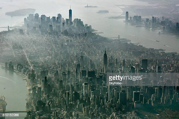 ニューヨーク市、マンハッタン上空からの眺め
