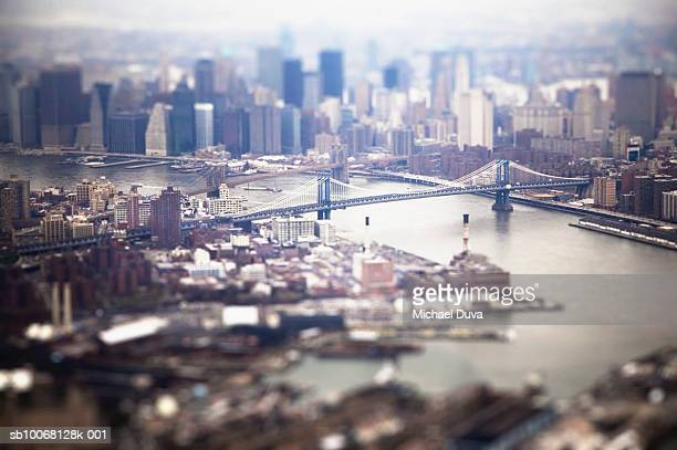 USA, New York City, Manhattan and Brooklyn Bridges, aerial view