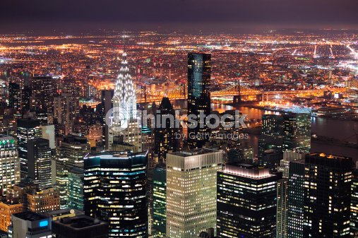 New York City Manhattan skyline aerial view at dusk : Stock Photo