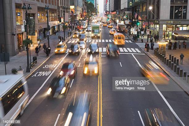 USA, New York City, Manhattan, Traffic on 42nd street